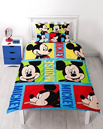 disney mickey maus bright rotary print bettw sche set polyester mehrfarbig single ainedab. Black Bedroom Furniture Sets. Home Design Ideas