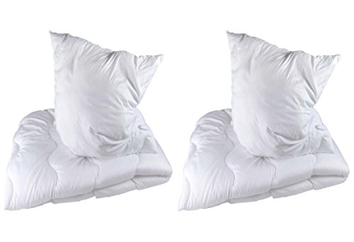 doppelpack betten set microfaser decke kissen kopfkissen bettdecke 135 200 80 80 cm 2 teilig. Black Bedroom Furniture Sets. Home Design Ideas