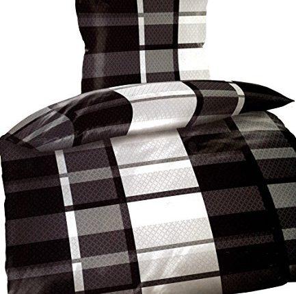 warme thermofleece bettw sche 4 teilig 135 200 cm schwarz. Black Bedroom Furniture Sets. Home Design Ideas