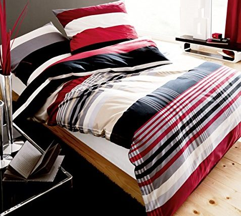 kaeppel biber bettw sche set prime time rot schwarz wei streifen gr e 240x220cm bettw sche. Black Bedroom Furniture Sets. Home Design Ideas