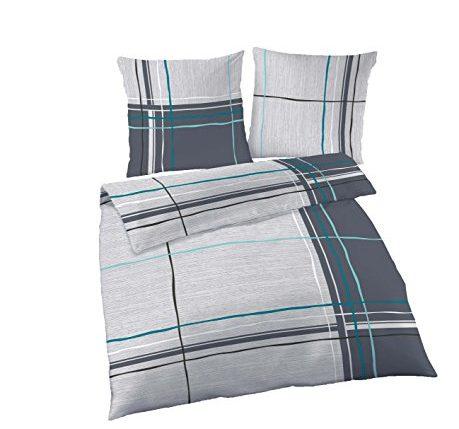 4 tlg bettw sche 135 200 cm petrol grau feinbiber baumwolle b ware neu ainedab. Black Bedroom Furniture Sets. Home Design Ideas