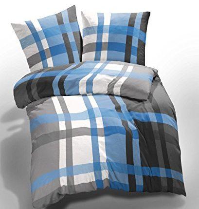 2 tlg et rea microfaser seersucker bettw sche urban check kariert gestreift blau grau wei 135. Black Bedroom Furniture Sets. Home Design Ideas