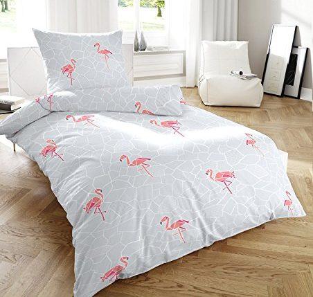primera soft seersucker bettw sche grau mit flamingos 155 220 80 80 cm ainedab. Black Bedroom Furniture Sets. Home Design Ideas