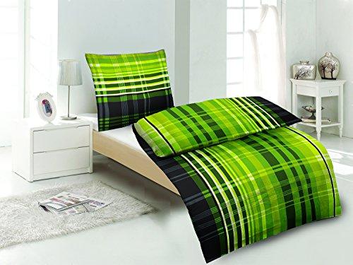 sommer hauchd nne k hlende microfaser bettw sche gr n kariert 1x 135 200 bettbezug 1x 80 80. Black Bedroom Furniture Sets. Home Design Ideas