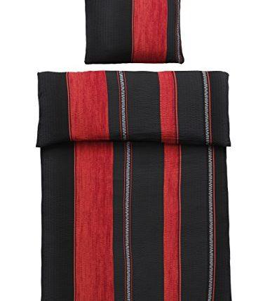4 teilig microfaser seersucker bettw sche schwarz rot mit rei verschluss 2x 135 200 bettbezug. Black Bedroom Furniture Sets. Home Design Ideas