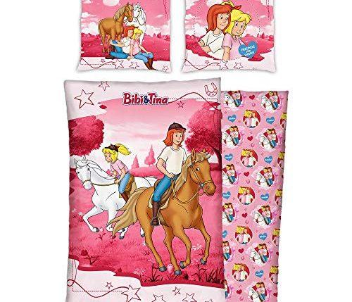 bibi und tina kinder wendebettwäsche reiter pink 135 cm x
