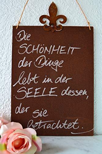 3er Set Wandbilder Sprüche 18x8cm Schilder Garten-Deko Türschild Edelrost Braun